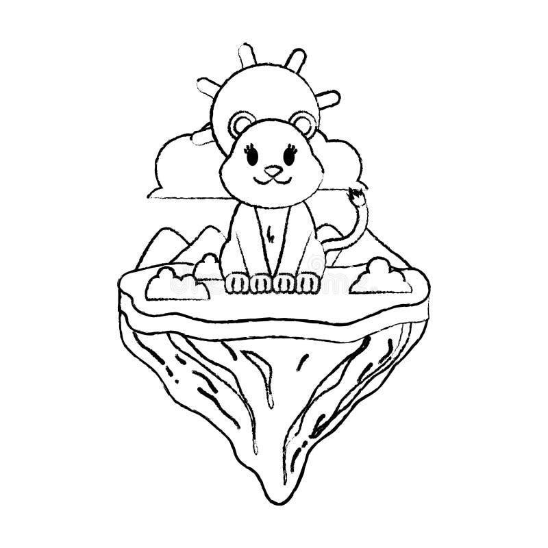 Animal femenino del león del Grunge en la isla del flotador ilustración del vector