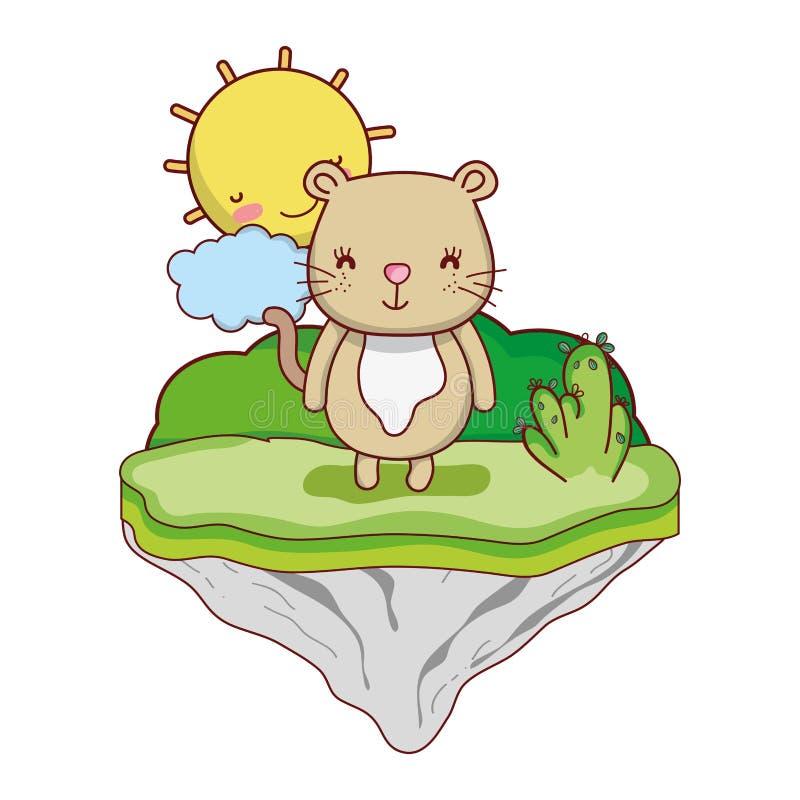 Animal femenino del ratón en la isla del flotador ilustración del vector