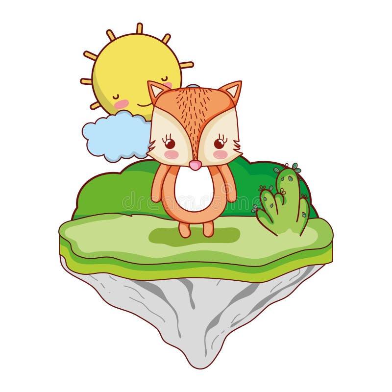 Animal femenino del zorro en la isla del flotador ilustración del vector