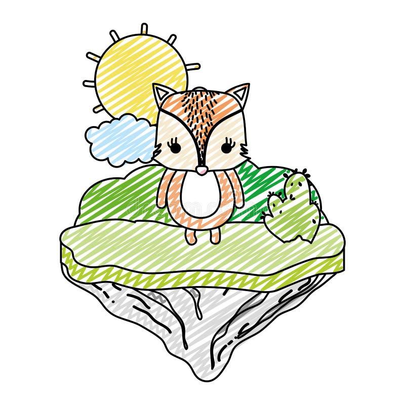 Animal femenino del zorro del garabato en la isla del flotador stock de ilustración