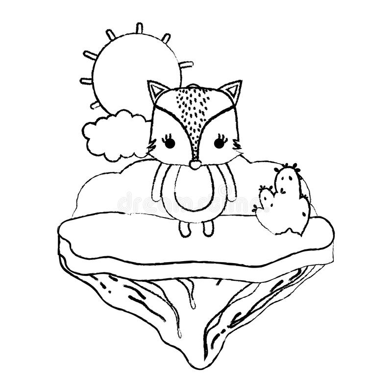 Animal femenino del zorro del Grunge en la isla del flotador stock de ilustración