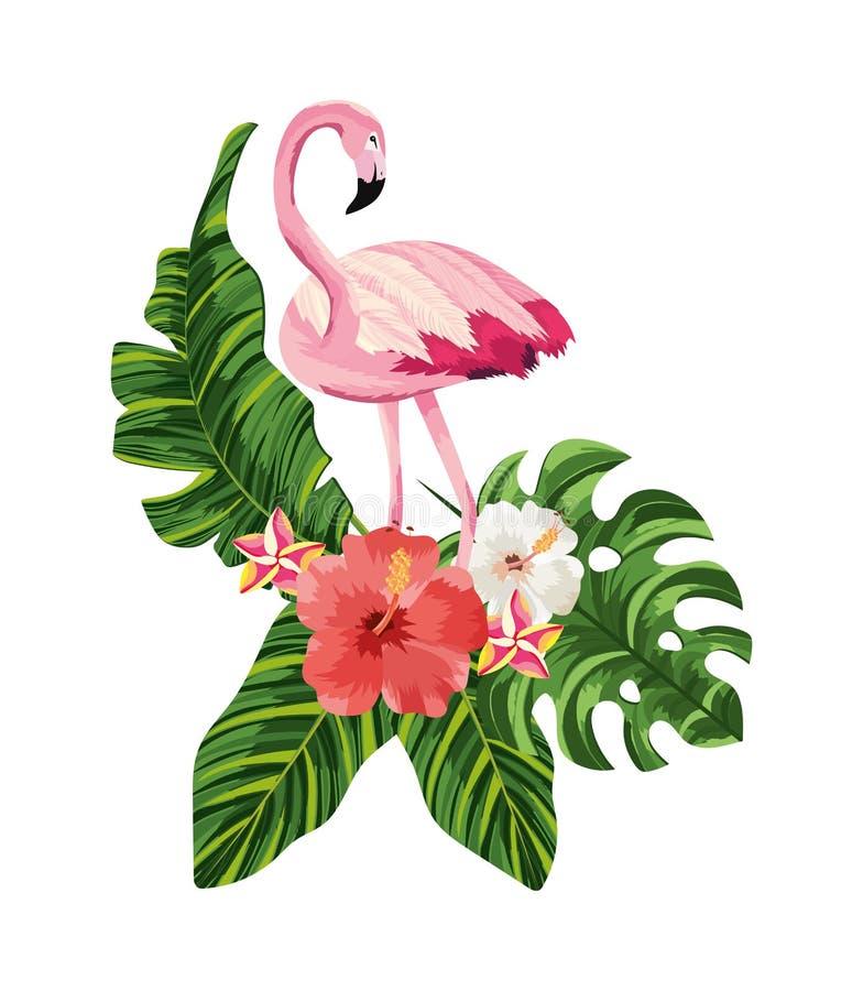 Animal flamand tropical avec des fleurs et des feuilles illustration stock