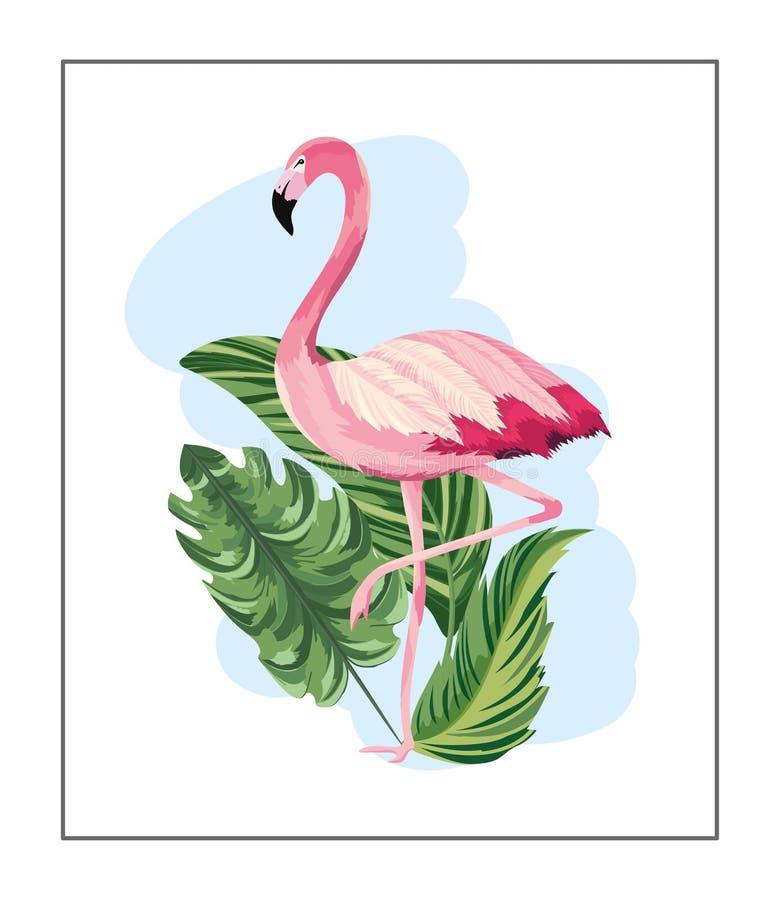 Animal flamand tropical avec les feuilles exotiques illustration libre de droits