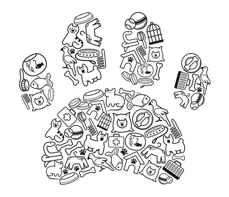 Animal-font des emplettes les graphismes Illustration de vecteur illustration de vecteur