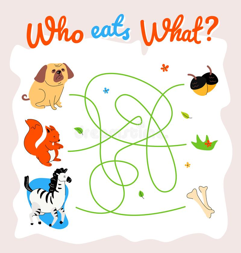 Free Animal Food Labyrinth Learning Game Vector Template Stock Photos - 159612363