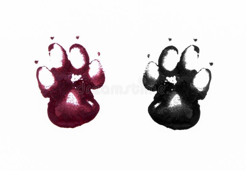 Animal footprints on white. Black nad red bloody footprints of animal royalty free stock image