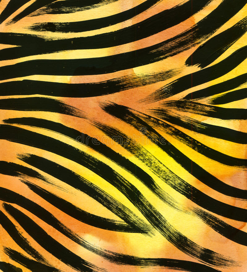 Animal fur background. zebra stripe abstract exotic fur watercolor hand drawn background. watercolor illustration vector illustration