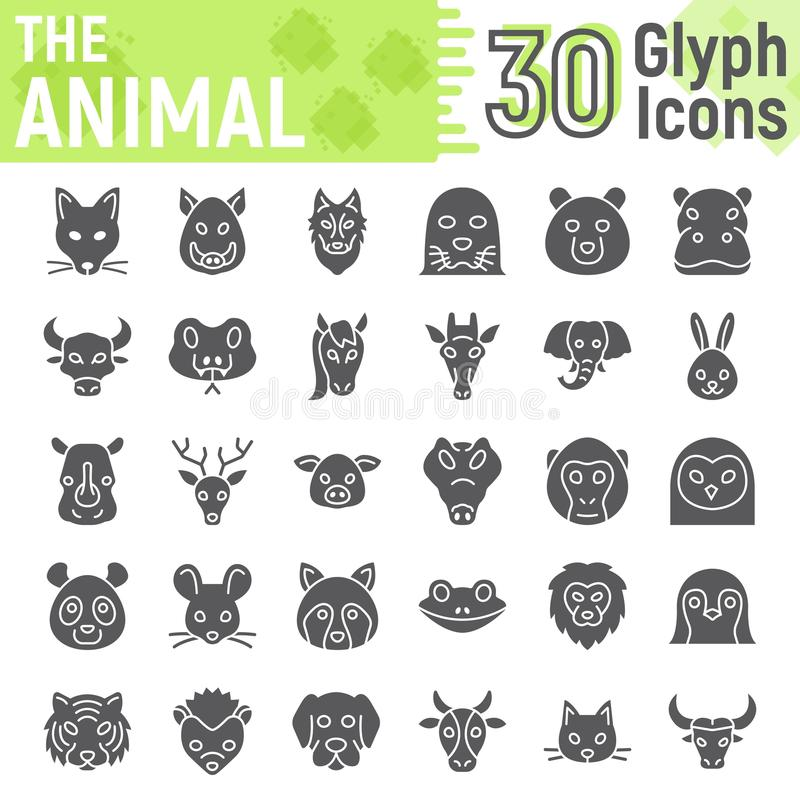 Animal glyph icon set, beast symbols collection. Vector sketches, logo illustrations, farm signs solid pictograms package isolated on white background, eps 10 stock illustration