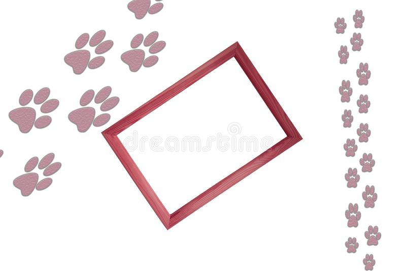 Animal grande e cópias pequenas do pé animal no fundo branco com quadro de madeira no centro da imagem e da cópia vazia livre ilustração do vetor