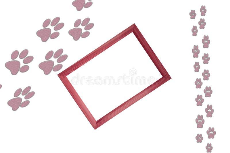 Animal grande y pequeñas impresiones del pie animal en el fondo blanco con el marco de madera en el centro de la imagen y de la c ilustración del vector