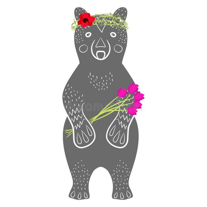 Animal gris derecho de la historieta del oso con las flores stock de ilustración