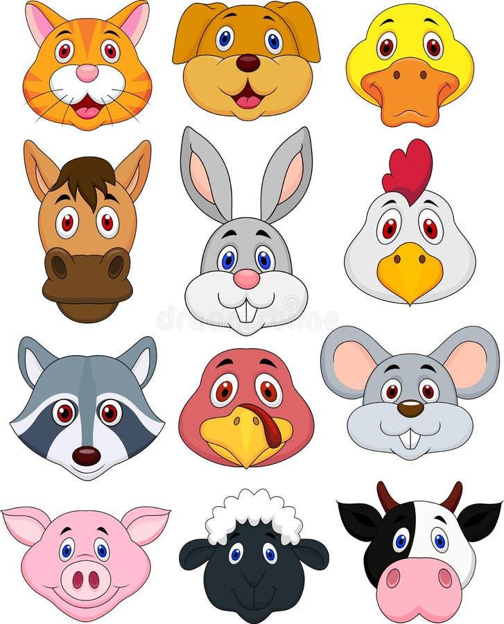 Animal Head Cartoon Set Stock Photos