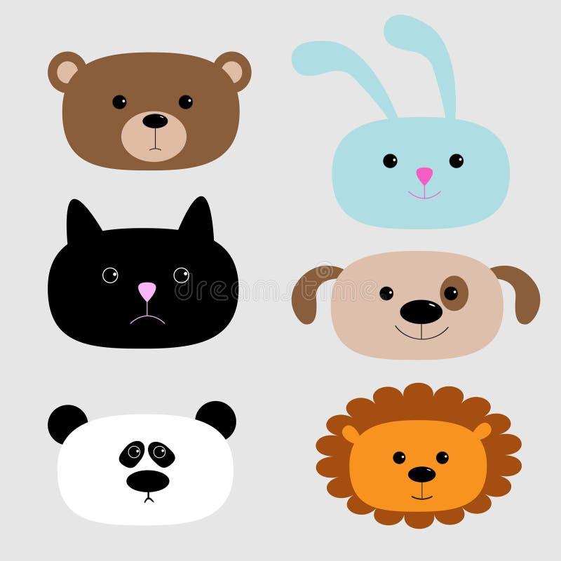 Animal head set. Cartoon bear, rabbit, cat, dog, panda and lion. stock illustration