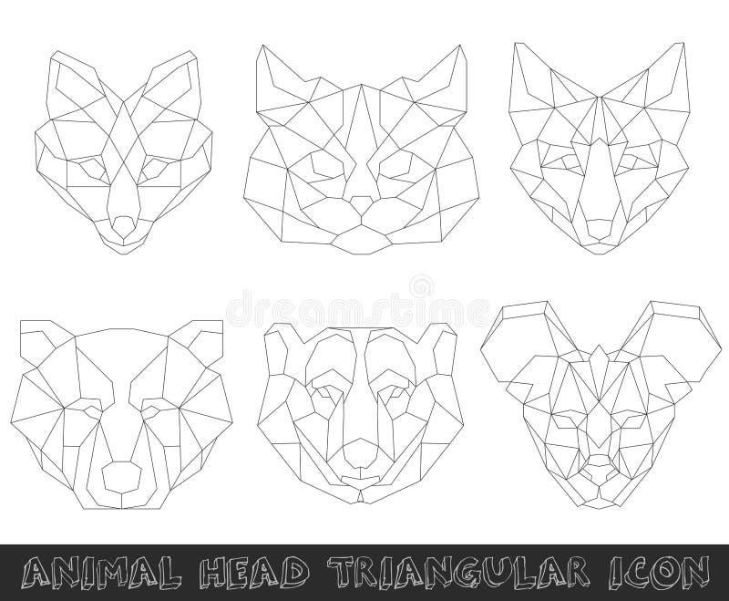 Animal head triangular icon-geometric line design stock illustration