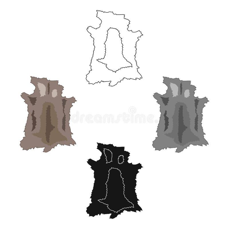Animal hide icon in cartoon,black style isolated on white background. Stone age symbol stock vector illustration. Animal hide icon in cartoon,black style royalty free illustration