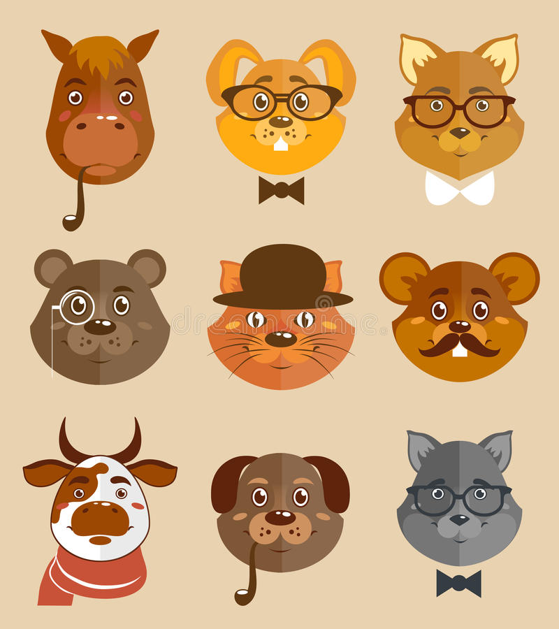Animal hipsters icons. Decorative animal hipsters icons set cat horse dog and bear in hats and bow ties vector illustration stock illustration