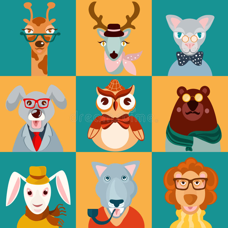 Animal hipsters icons flat. Decorative animal hipsters icons set cat bear owl lion isolated vector illustration royalty free illustration