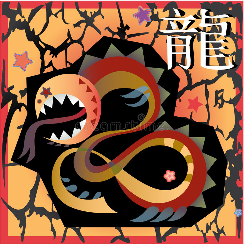 Animal horoscope - dragon vector illustration