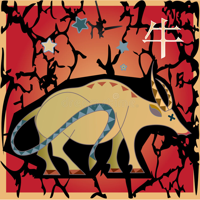 Animal horoscope - ox vector illustration
