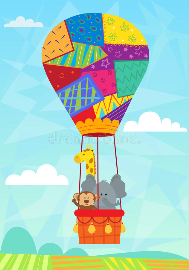 Animal in hot air balloon stock vector image of adventure 44285133