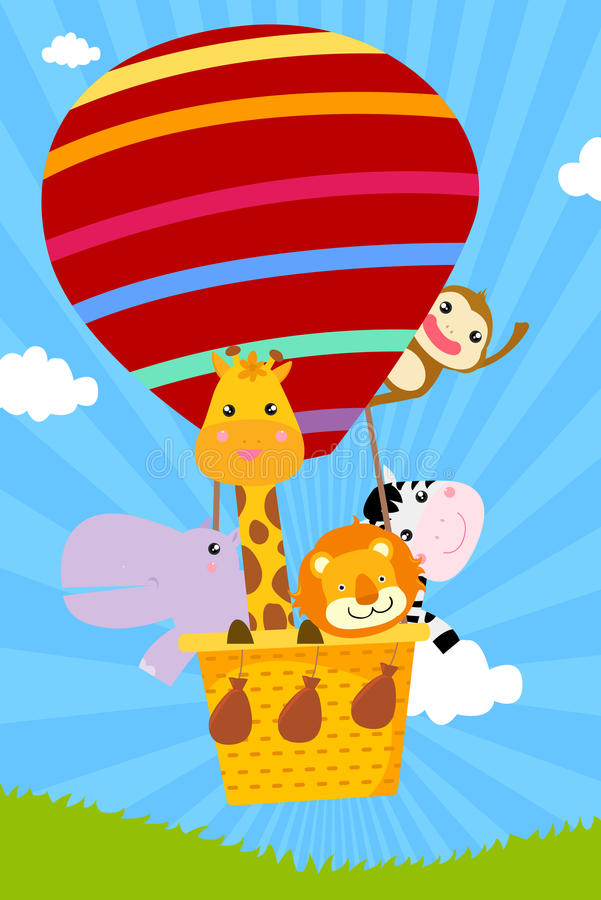 Download Animal and hot balloon stock vector. Image of lion, group - 23948996