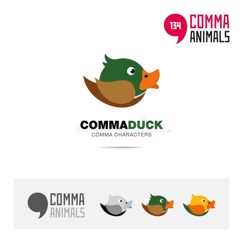 Duck bird concept icon set and modern brand identity logo template and app symbol based on comma sign. Animal icon set and logo template vector illustration stock illustration