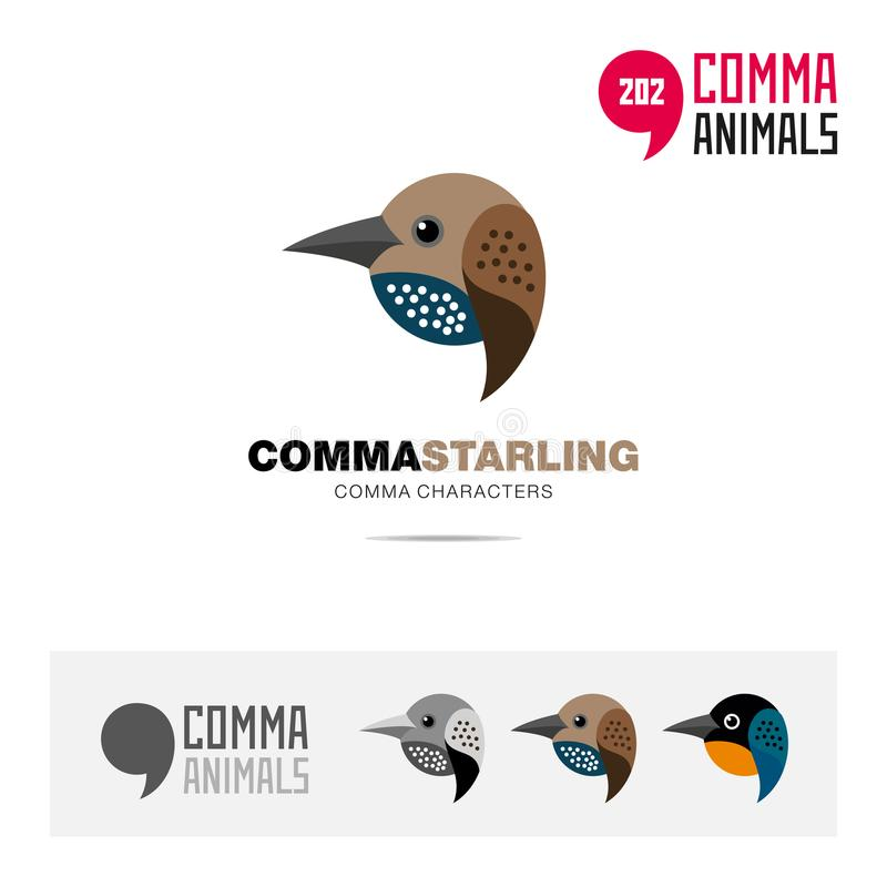 Starling bird concept icon set and modern brand identity logo template and app symbol based on comma sign royalty free illustration