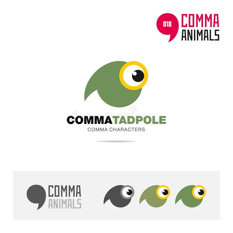 Tadpole animal concept icon set and modern brand identity logo template and app symbol based on comma sign. Animal icon set and logo template vector illustration vector illustration