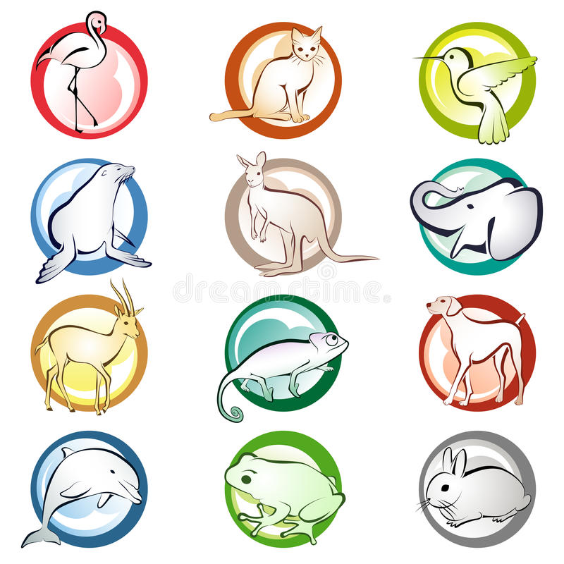 Download Animal icons stock vector. Illustration of fauna, colorful - 22097790