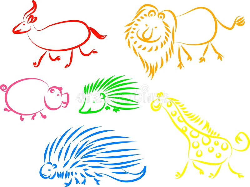 Download Animal icons stock vector. Image of lion, hedgehog, sketch - 9433151