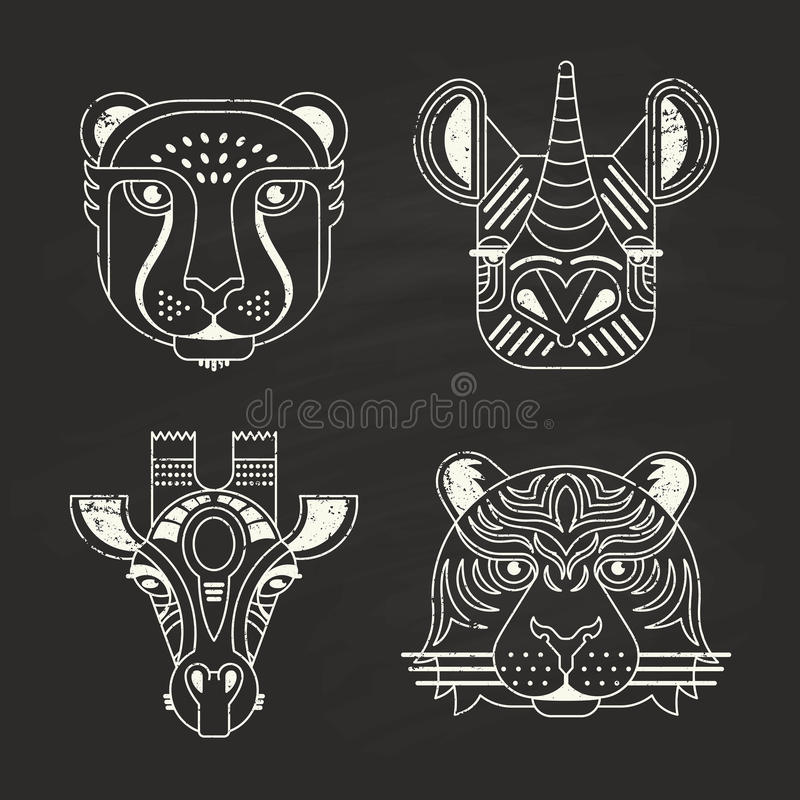 Animal Icons. Animal portraits made in unique geometrical flat style. Vector heads of cheetah, rhino, giraffe and tiger on chalkboard. Isolated icons for your stock illustration