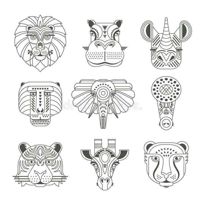 Animal Icons. Animal portraits made in unique geometrical flat style. Vector heads of cute animals. Isolated icons for your design. nn vector illustration
