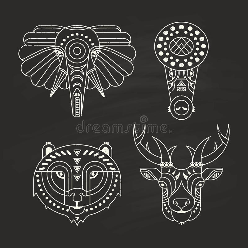 Animal Icons. Animal portraits made in unique geometrical flat style. Vector heads of elephant, crocodile, bear, deer. Isolated icons for your design vector illustration