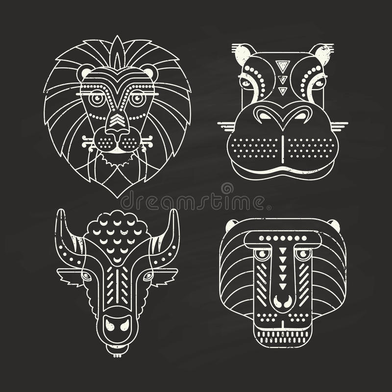 Animal Icons. Animal portraits made in unique geometrical flat style. Vector heads of lion, hippo, bison, monkey on a chalkboard. Isolated icons for your design vector illustration