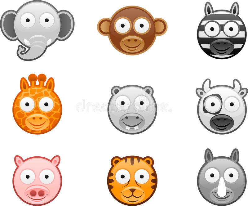 Download Animal icons set - 1 stock vector. Image of natural, head - 24171208