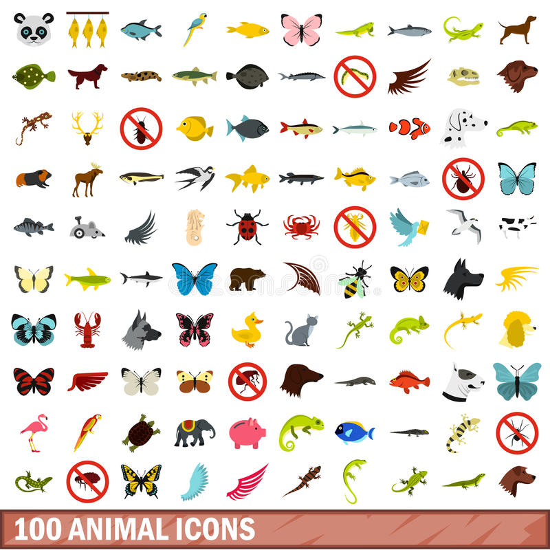100 animal icons set, flat style. 100 animal icons set in flat style for any design vector illustration royalty free illustration