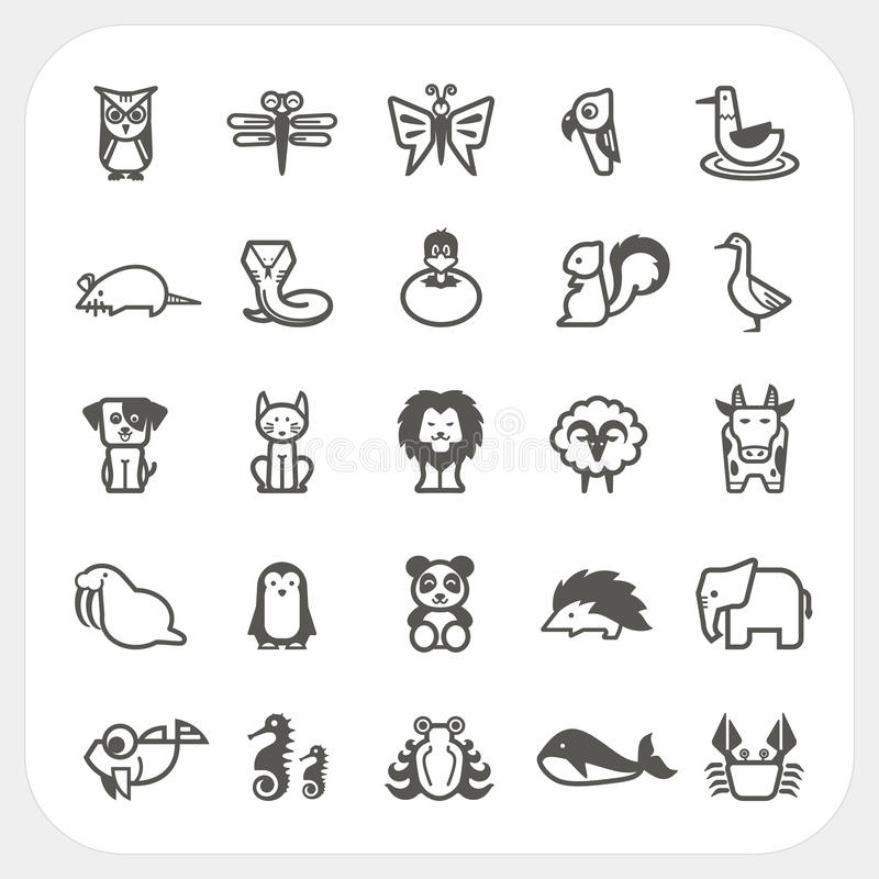 Animal icons set isolated on background. On background vector illustration