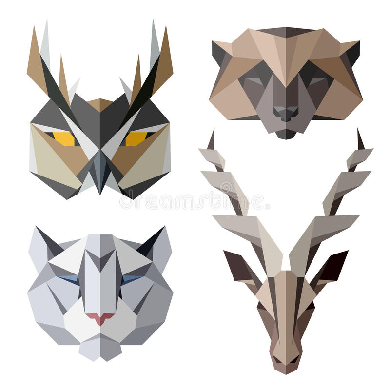 Animal icons, vector icon set. Abstract triangular style. Vector illustration vector illustration