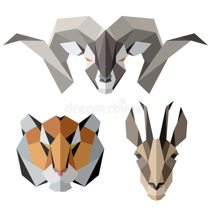 Animal icons, vector icon set. Abstract triangular style. Isolated on white vector illustration
