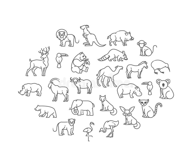 Animal icons. Zoo Animals. Animal icons. vector outline icon set stock illustration