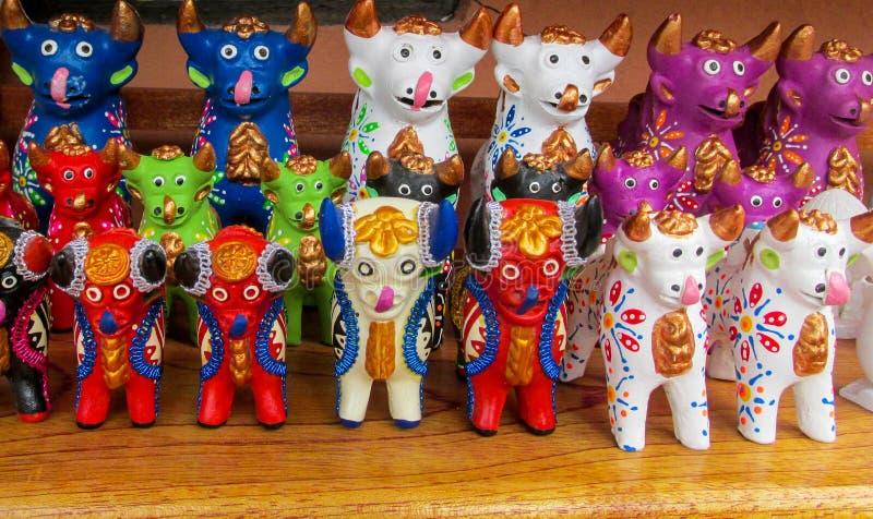 Animal idols at mercado de las brujas in Bolivia. South America souvenir traditional crafts gift shop, Bolivia. Native american Animal Idols at mercado de las stock image