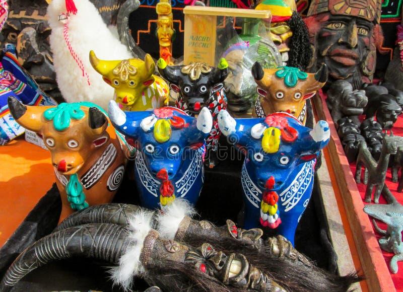 Animal idols at mercado de las brujas in Bolivia. South America souvenir traditional crafts gift shop, Bolivia. Native american Animal Idols at mercado de las royalty free stock images