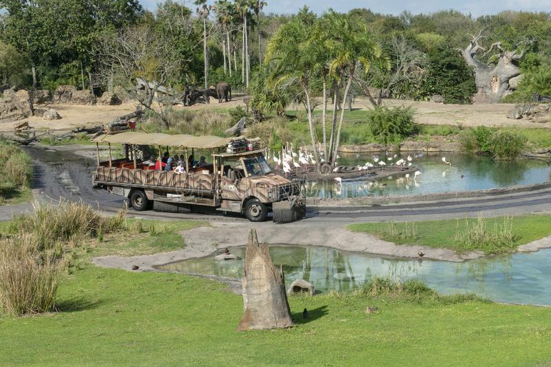 Animal Kingdom, Disney World, Travel, Florida. Animal Kingdom Kilimanjaro Safaris ride at Walt Disney World outside of Orlando, FL. Families go on a safari stock photography