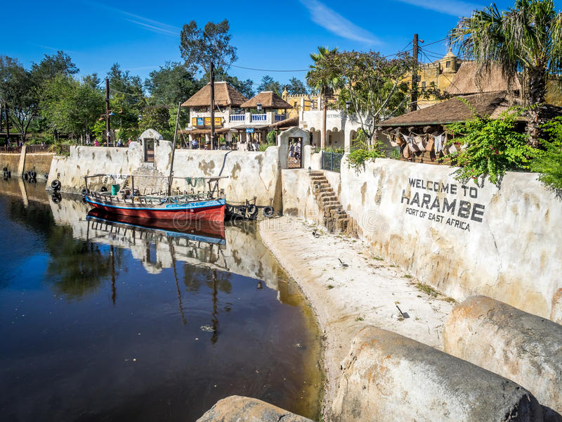 Animal Kingdom Theme Park, Dinsey World. An old boat in the African section of the Animal Kingdom Theme Park at Disney World in Orlando Florida royalty free stock photo
