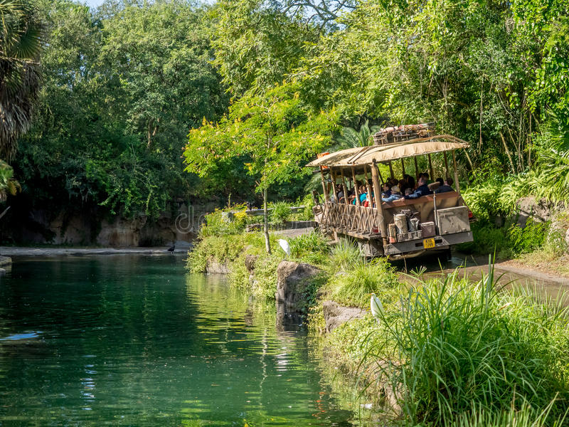 Animal Kingdom Theme Park, Dinsey World. Safari ride at the Animal Kingdom Theme Park at Disney World in Orlando Florida. Visible is a safari truck in the royalty free stock photo