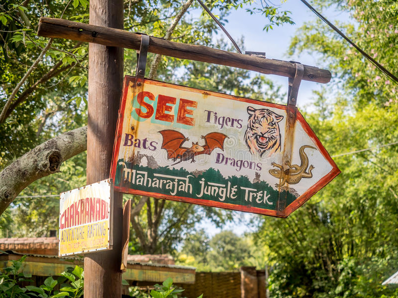 Animal Kingdom Theme Park, Dinsey World. Sign at the Animal Kingdom Theme Park at Disney World in Orlando Florida stock image