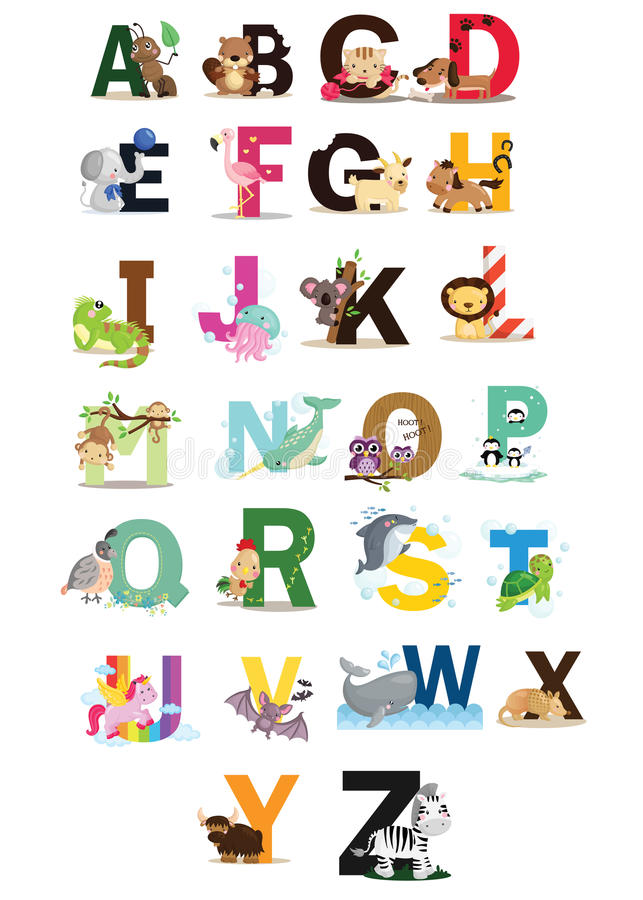 Animal letter vector set royalty free stock image