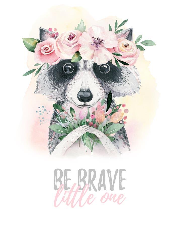 Animal lindo aislado historieta del mapache del bebé de la acuarela con las flores Ejemplo del arbolado del cuarto de niños del b libre illustration