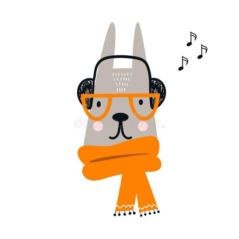 Animal lindo de las liebres de la historieta con vidrios y una bufanda Los niños dan el ejemplo exhausto del vector en estilo esc libre illustration