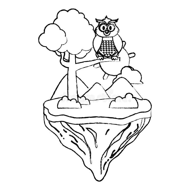 Animal lindo del búho del Grunge en la isla del flotador stock de ilustración